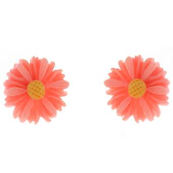 Clip On Earrings Store Petite Orange Acryl Daisy Flower Magnetic Clip Earrings