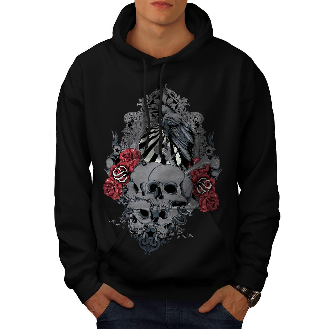 Death Skull Cemetery Burial Land Men Black Hoodie | Wellcoda