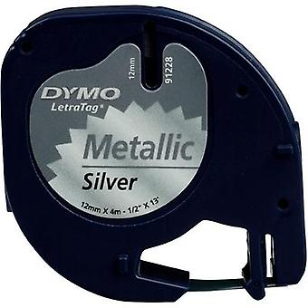 Label roll DYMO 91228 Tape colour: Silver (metallic) Font colour:Black 12 mm 4 m