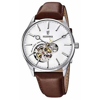 Festina Mens Automatic Brown Leather Strap White Dial F6846/1 Watch