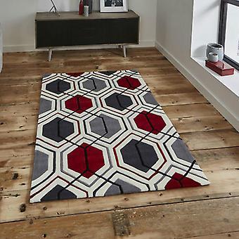 Teppiche - Hong Kong Hexagon - HK7526 rot-Creme