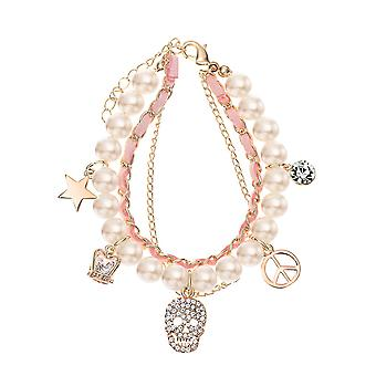 14K Gold Plated Pink Rope Simulated Pearl Charm Bracelet, 17cm