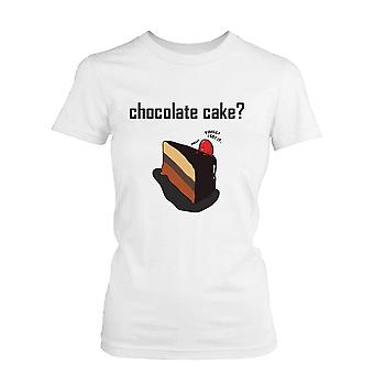 Chocolate Cake with Strawberry Women's Cute Graphic Shirt Humorous White Tee Funny Shirt