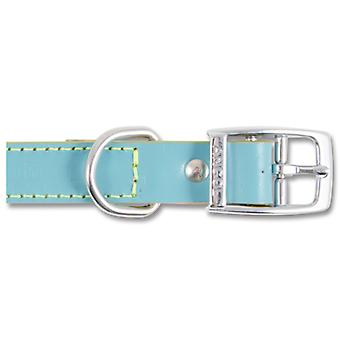 Indulgence Leather Collar Aqua 25mm X46-56cm