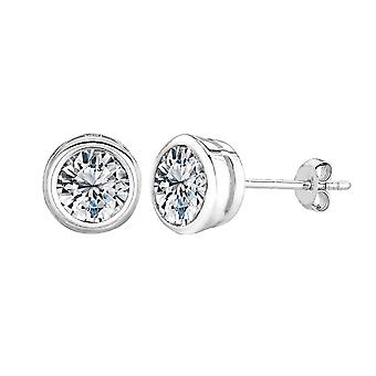 Sterling Silber Rhodium Finish Runde Lünette Set Zirkonia Ohrstecker