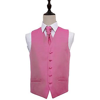 Fuchsia Pink Greek Key Patterned Wedding Waistcoat & Cravat Set