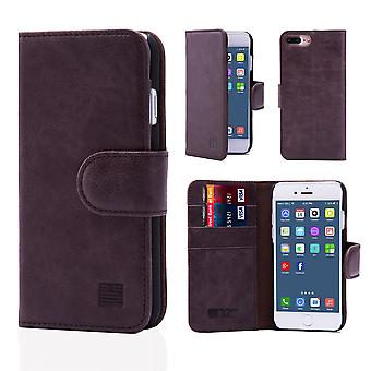 32nd Premium Leather Wallet for Apple iPhone 7 Plus   / iPhone 8 Plus  - Dark Brown