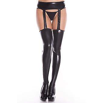 Wet Look Suspender Belt With Attached Stockings-Black