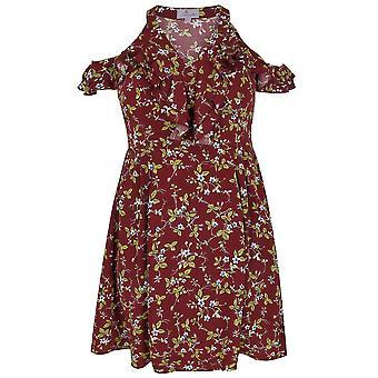 PRASLIN Burgundy Floral Print Cold Shoulder Dress