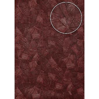 Embossed wallpaper Atlas STI-5102-5 non-woven wallpaper embossed in leather optics shimmering red wine red black-red 7,035 m2