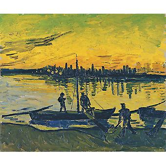 Vincent Van Gogh - The Coal Barges, 1888 Poster Print Giclee
