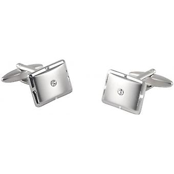 David Van Hagen Rectangle Crystal Cufflinks - argent/transparent