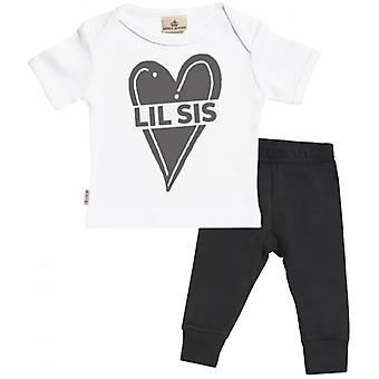 Spoilt Rotten Little Sis Baby T-Shirt & Baby Jersey Trousers Outfit Set