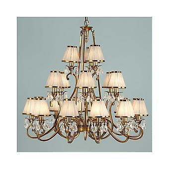 Interiors 1900 Oksana Brass 21 Light Chandelier With Beige Shades