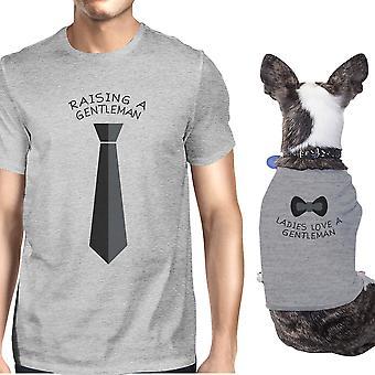 Повышение джентльмен любовь джентльмен серый собаки владелец соответствующие футболки