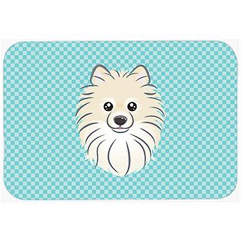 Checkerboard Blue Pomeranian Mouse Pad, Hot Pad or Trivet