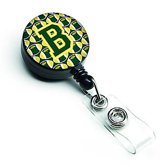 Letter B Football Green and Yellow Retractable Badge Reel