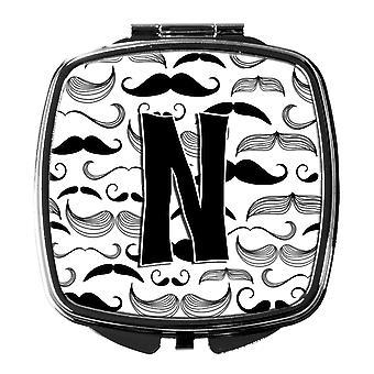 Carolines Treasures  CJ2009-NSCM Letter N Moustache Initial Compact Mirror