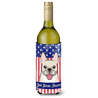 God Bless American Flag with French Bulldog Wine Bottle beverage Insulator Hugge