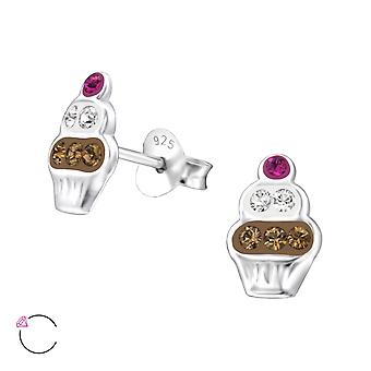 Cupcake crystal from Swarovski® - 925 Sterling Silver Children's Ear Studs