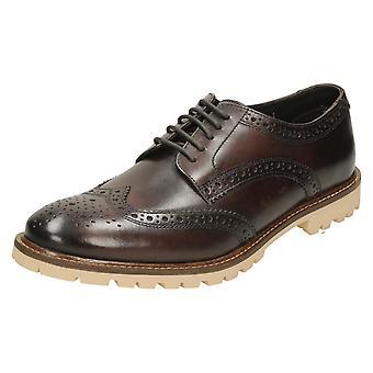 Mens Base London Formal Shoes Raid - Washed Brown Leather - UK Size 8 - EU Size 42 - US Size 9