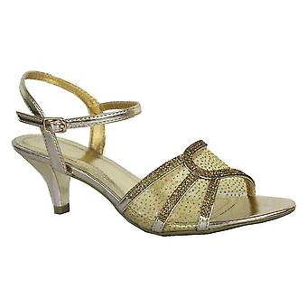 Ladies Womens New Diamante Low Heel Ankle Strap Evening Sandals Shoes