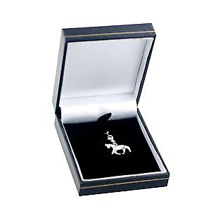Silver 23x19mm Saddled Horse charm on a lobster trigger