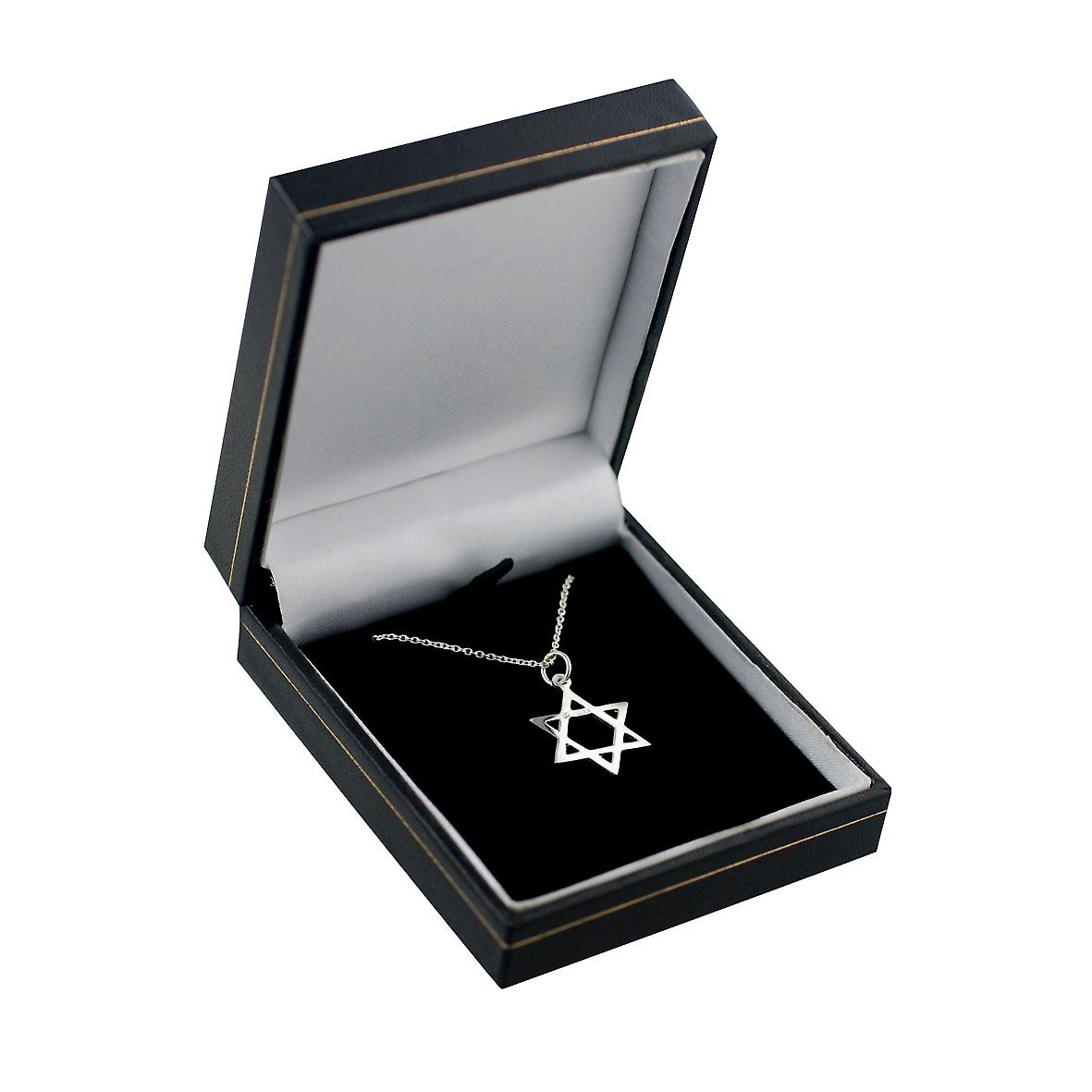 Silver 21x17mm Star of David pendant with Rolo chain