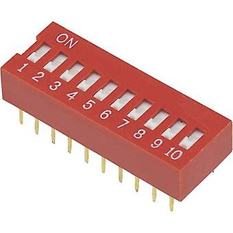 DIP switch Number of pins 10 Slide-type TRU COMPONENTS DSR-10