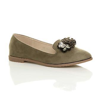Ajvani womens flat low heel flower diamante gem loafers ballerinas pumps dolly shoes