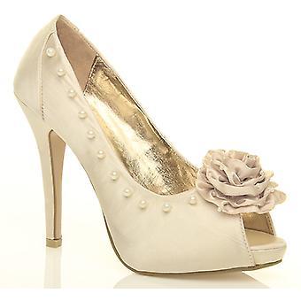 Ajvani damskie szpilki diamante perła kwiat wieczorowe peep toe sąd buty sandały