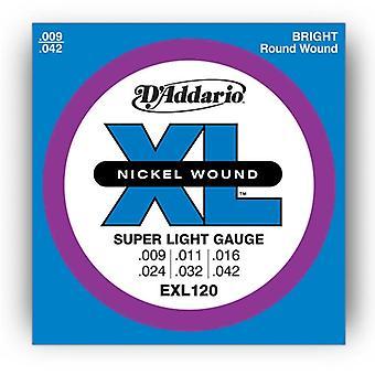 D Addario EXL120 elektriske Guitar Strings - Super Light