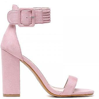 Shoe Closet Ladies DB115 Light Pink Ankle Strap Strappy Sandals Peep Toes High Heel