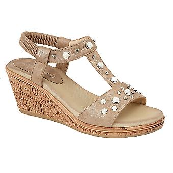 Ladies Womens Elasticated Jewel Halter Back Wedge Sandals Shoes