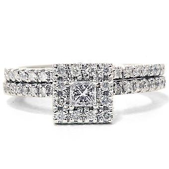 5 / 8ct Princess Cut diamant Engagement bague de mariage Set 14K or blanc
