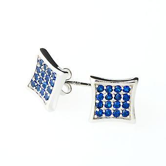 Kolczyki srebro 925 - kryształ 10 mm niebieski
