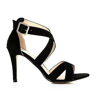 SOPHIE Black Faux Suede Strappy High Heel Sandals