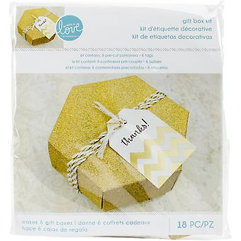 With Love By Momenta Hexagon Gift Boxes-Gold Glitter, Makes 6