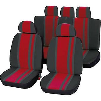 Unitec 84958 Newline Seat covers 14-piece Polyester Red, Black Driver's seat, Passenger seat, Back seat