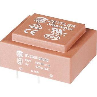PCB mount transformer 1 x 230 V 2 x 24 V AC 0.35 VA 7.30 mA BV202D24003A Zettler Magnetics