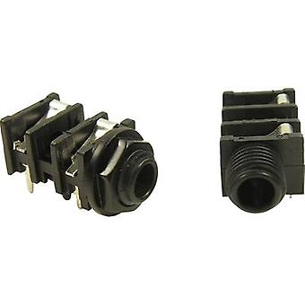 6.35 mm audio jack Socket, horizontal mount Number of pins: 3 Stereo Black Cliff FCR50051 1 pc(s)