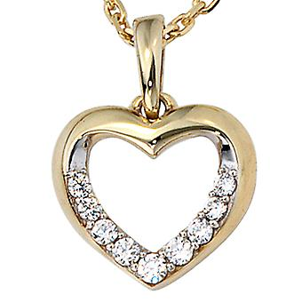 Heart pendant bicolor 333 gold yellow gold with cubic zirconia heart pendant