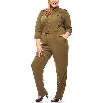 abdulgaffar long jumpsuit in the army look large size khaki-Green