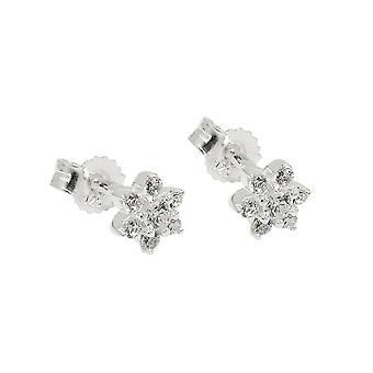 Plug 5x5mm blomma med zirkoner Silver 925