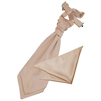 Mocha Brown Plain Satin Wedding Cravat & Pocket Square Set for Boys