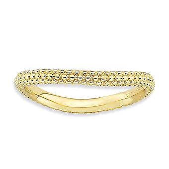 2.25mm Sterling Silver Textured Patterned Stackable Expressions Polished Gold-FlashedWave Ring - Ring Size: 5 to 10