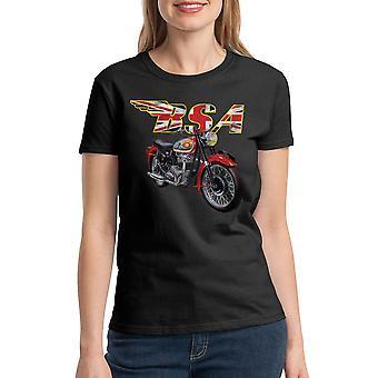BSA Motorcycles British Flag Women's Black T-shirt
