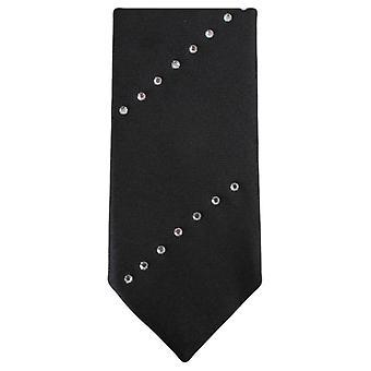 Knightsbridge Krawatte Diagonal Diamante schmaler Krawatte - schwarz/silber