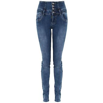 Ladies Elasticated High Waist Faded Denim Slim Fitted Skinny Smart Jeans