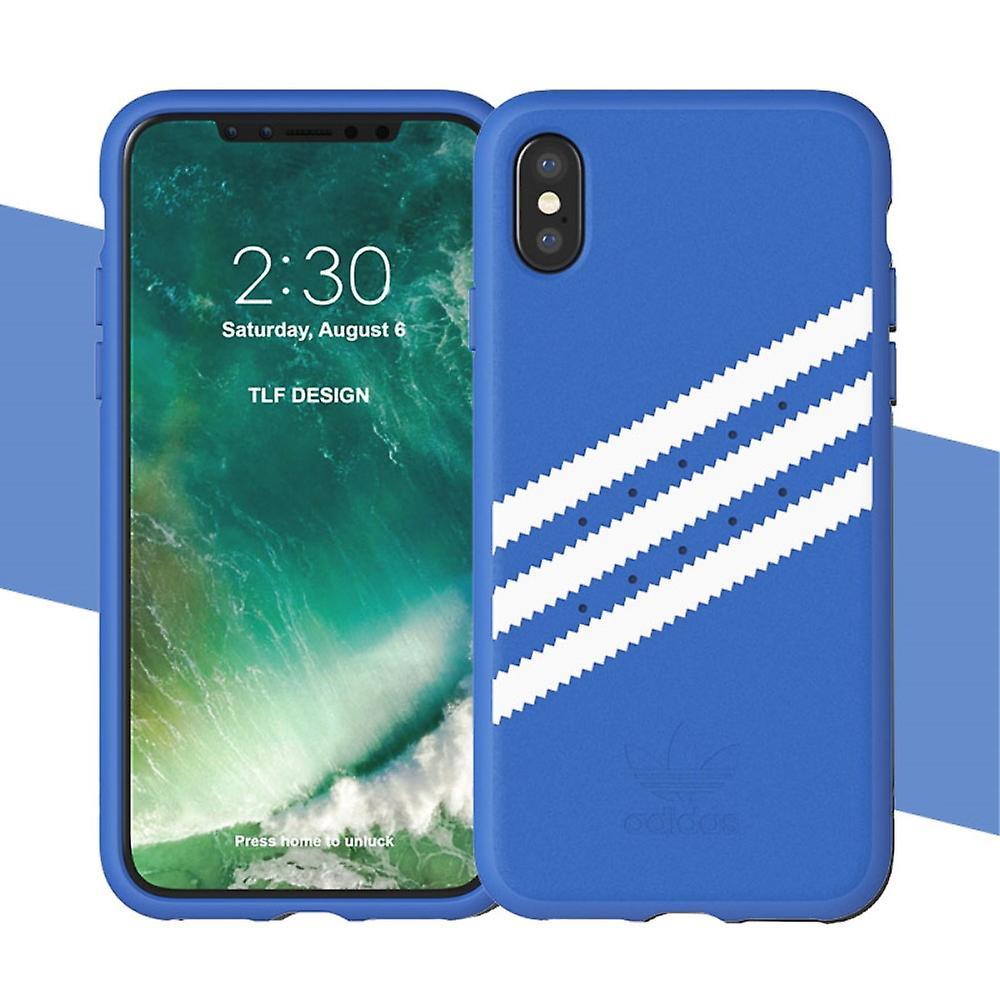 ADIDAS konstLäderbelagd étui TPU pour iPhone X-bleu